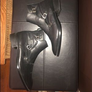 Zara men all leather three buckle shoes
